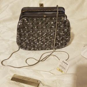 Judith Leiber grey/silver sequin/beaded purse